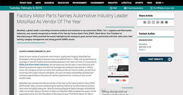 Screenshot of an article: Factory Motor Parts Names Automotive Industry Leader MotoRad As Vendor Of The Year